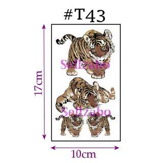 ★Colour Brown Tigers Fake Temporary Body Tattoos Stickers Sellzabo #T43 Fierce Animals