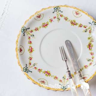 Beautiful antique English bone china cake plate, hand-decorated blue ribbon bows, rose swags and garlands
