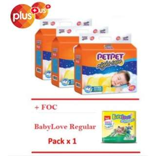 SHOCKING DEAL : [Buy 3 FOC 1] PetPet Night Tape Mega Pack Diapers x 3 pack + FOC Babylove Regular Pack x 1 pack (S66/M60)