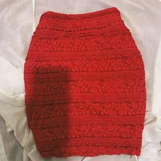 RE-PRICED! Forever 21 RED LACE BANDAGE SKIRT