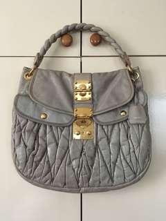 Preloved authentic Miu Miu large Matelasse bag + wallet