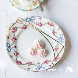 Very pretty plate ' basket ' for serving afternoon tea, hand-coloured blue ribbon bows, pink rose swags and garlands