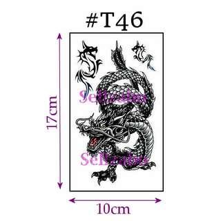 ★Black Single Dragon Fake Temporary Body Tattoos Stickers Sellzabo #T46 Fierce Animals
