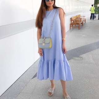 Zara Light Blue Midi Dress With Ruffle Hem