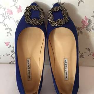 Preloved Manolo Blahnik Blue Satin Flats 38