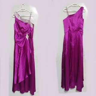 紫色晚裝 (結婚用品) 奶奶裝 媽媽裝 旗袍 90%新