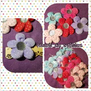 Soft Appliques/Embellishments: Sweet Dotted Fabric Floral Series (model FF01)