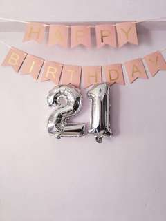 NUMBER 21 SILVER FOIL BALLOON