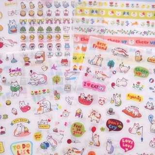 Cat Sticker Pet Kitten Craft DIY Cute Stickers Set Of 6 Pcs