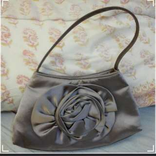 Fabric Hand Bag,  synthetic silk 手袋,  紫灰色绢布  (新,  SkII贈品)