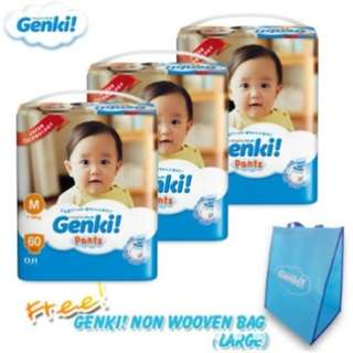 SHOCKING DEAL : Genki! Pants Mega M60/L50/XL44/XXL36 (3 pack) + 1 x Genki! Non Woven Bag