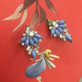 復古湖水藍鑲鑽雨滴型耳環(夾式)