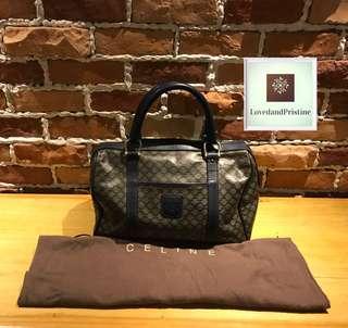 Celine Vintage Macadam Pattern Boston Bag in Blue