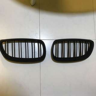 Bmw E92 front grills matte black double line grill