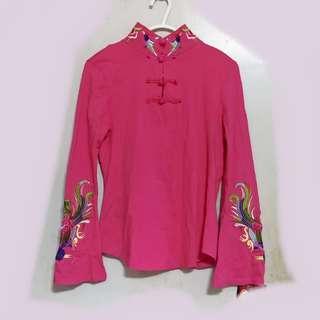 桃紅色長䄂繡花衫 (結婚用品) 媽媽裝 奶奶裝 好命婆裝