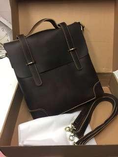 包順豐 全新 手工製 Leather Bag 全牛皮三用手提包 公事包 側孭袋 皮袋 Handmade