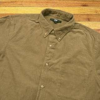 Kemeja UNIQLO Olive Brown Corduroy Shirt Long Sleeve