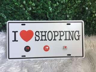 I ❤️ shopping metal wall tag decor