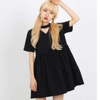 Instocks Choker Babydoll Dress Black