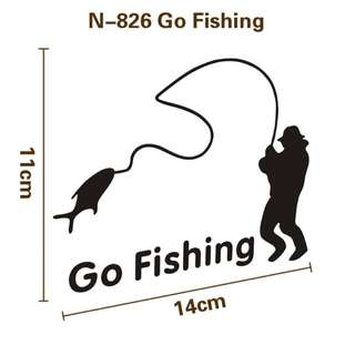 GO FISHING PVC sticker on car for fishing lure tackle fishing reels brand new famous top quality wobble for cars