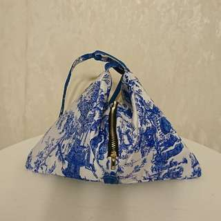 Blind by JW, white & blue pattern backpack