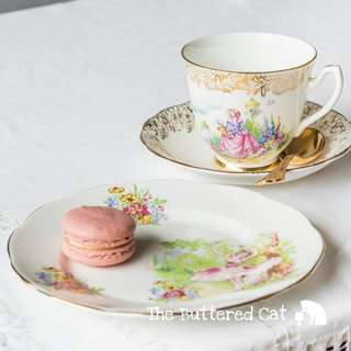 Sweet vintage mix and match tea trio, pretty ' Pinkie ' crinoline lady, ballerina in pinks and chintz