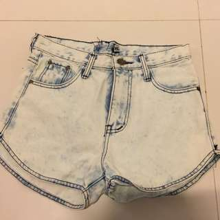 Acid wash High Waist Shorts