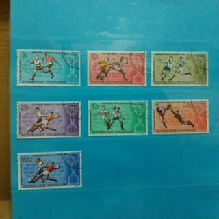 7 pcs 1966 Togo stamps, World Cup Football