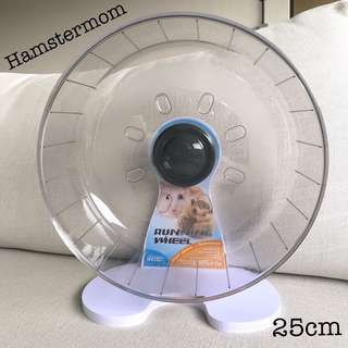 Grey 25cm Hamster Running Exercise Wheel w/ Stand