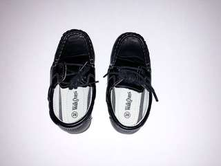 Walker black leather (faux) boat shoes for boys toddlers 2-3 years old