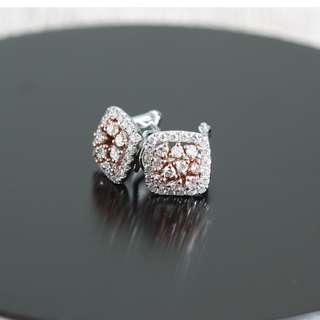 MAE18694  18K白金/玫瑰金雙色碎鑽耳環