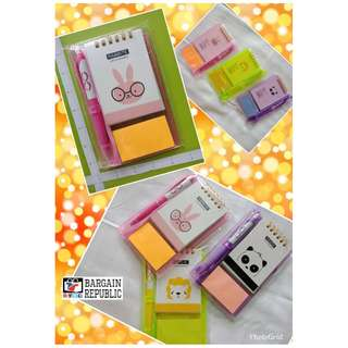 Notepad Set Sticky Note, Ballpen and Notepad on Hard Plastic Case
