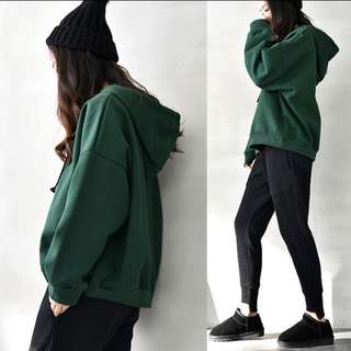 Uzzlang Forest Green Oversized Hoodie Pullover!