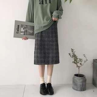 九成新 秋冬顯瘦格紋磨毛長裙L號