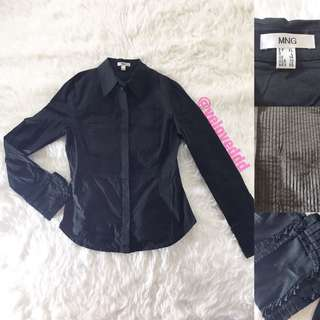 Mango black button shirt sleeve top