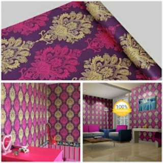 Grosir murah wallpaper sticker dinding ungu batik emas merah fanta