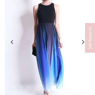 PENELOPE OMBRE GLAMOUR MAXI DRESS IN COOL