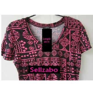 Rue21 Tribal Printed PINK Free Size Stretchy Cooling Top Sellzabo #S68 Ladies Girls Women Female Lady