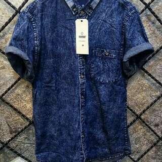 Kemeja jeans batik