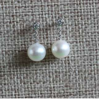 MAE23306 18K白金南洋珍珠鑽石耳環
