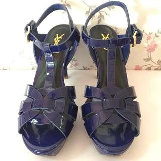 Preloved YSL Tribue Patent Heels in Blue 38