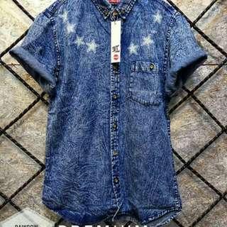 Kemeja jeans circle star