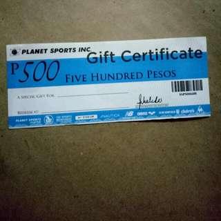 Planet Sports 500 Worth GC