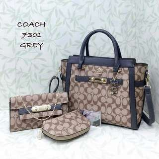 Coach Handbag Set 3 in 1 Grey Color
