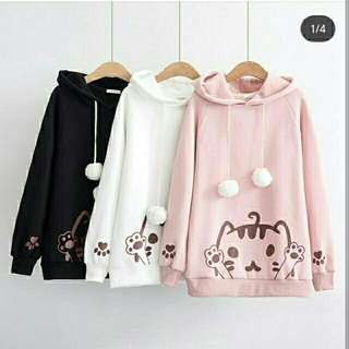 sweater meow tali  cat hoddie natas wrna  bhn babyterry + hodie Fit to L