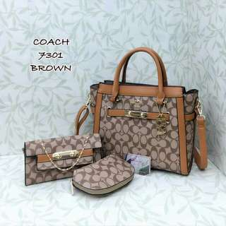 Coach Handbag Set 3 in 1 Brown Color