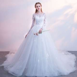 Pre order white long sleeve fishtail puffy wedding bridal prom ball gown dress  RB0554