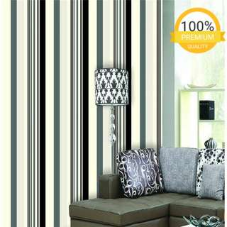 Grosir murah wallpaper sticker dinding garis hitam putih abu abu