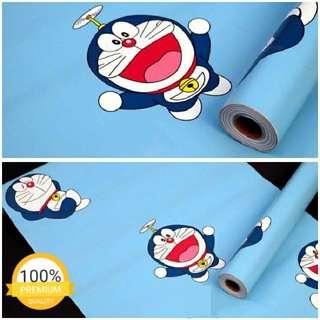 Grosir murah wallpaper sticker dinding kartun anak biru doraemon