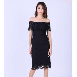 Off shoulder black lace midi dress
